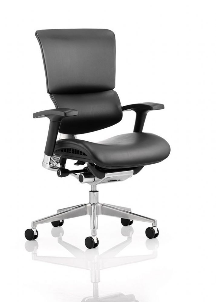Ergonomic Posture Chair Black Bonded Leather Breathable Mesh Split Backrest Design Black Frame